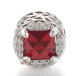 Perles européennes en laiton avec zircone cubique, Perles avec un grand trou   , plat rond, platine, rouge, 12x11mm, Trou: 4.5mm(ZIRC-T006-34P-02)