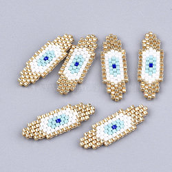 Handmade Japanese Seed Beads, Loom Pattern, Evil Eye, White, 29x10x2mm(X-SEED-T002-07)