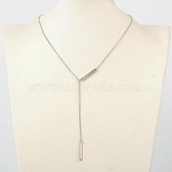 """Colliers de lasso de fer à la mode, avec 304 accessoires en acier inoxydable et fermoirs mousqueton en alliage de zinc, platine, 16.3""""(NJEW-JN00985)"""