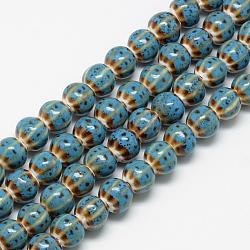 Perles en porcelaine manuelles, le style antique vitrée fantaisie, citrouille, bleu foncé, 10x11~12mm, Trou: 2.5mm(PORC-Q228-03)