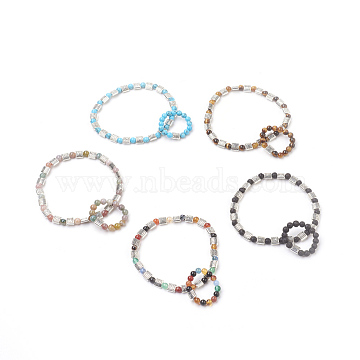 Natural & Synthetic Mixed Stone Jewelry Sets, Stretch Bracelets & Ring, with Alloy Finding, 2-1/4 inches(5.75cm); 20mm(SJEW-JS00980)