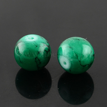 Spray Painted Glass Bead Strands, Round, Sea Green, 10mm; Hole: 1.3~1.6mm; about 80pcs/strand, 31.4inches(GLAD-S075-10mm-32)