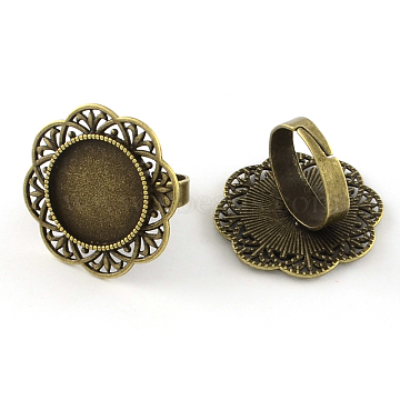 Adjustable Alloy Flower Pad Ring Settings, with Iron Ring Shanks, Lead Free & Nickel Free, Antique Bronze, Tray: 18mm; 17.5mm(X-PALLOY-S042-23AB-FF)