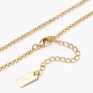 Brass Rolo Chain Necklaces, with Lobster Claw Clasps, Long-Lasting Plated, Word Hand Made, Real 18K Gold Plated, 15-5/8 inches(39.7cm)(NJEW-H206-09G)