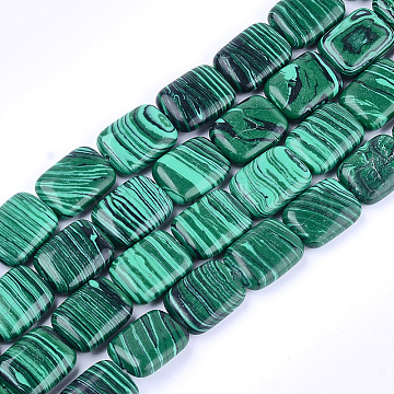 18mm Rectangle Malachite Beads