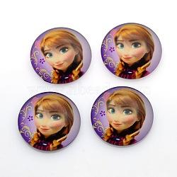 Cabochons  ronde / dôme en verre imprimés, colorées, 16x5mm(GGLA-N004-16mm-E02)