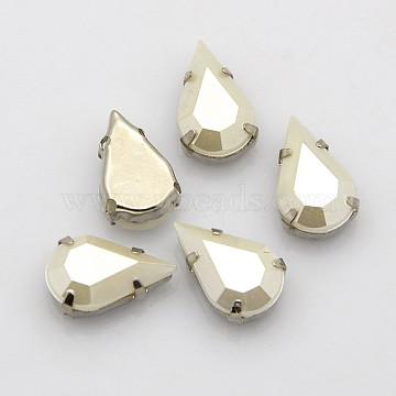 Sew on Rhinestone, Multi-strand Links, Multi-strand Links, Taiwan Acrylic Rhinestone, with Platinum Plated Brass Prong Settings, Garment Accessories, Faceted, teardrop, Beige, 10x6x4.5mm, Hole: 1mm(X-ACRT-M042-A-SJ2)