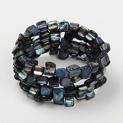 Les bracelets d'enveloppe, avec des perles de coquillage, Fil d'acier à mémoire de bracelet et barres d'écartement, grises , 55mm(BJEW-JB00300-06)