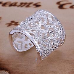 Laiton mode zircone cubique anneaux manchette de doigt, taille 8, platine, 18.1mm(RJEW-BB13147-8P)