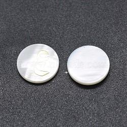 cabochons coquille, avec de la résine, plat rond avec alphabet arabe, blanc, 9.5~10x1.5~2.5 mm(SSHEL-E568-A08)