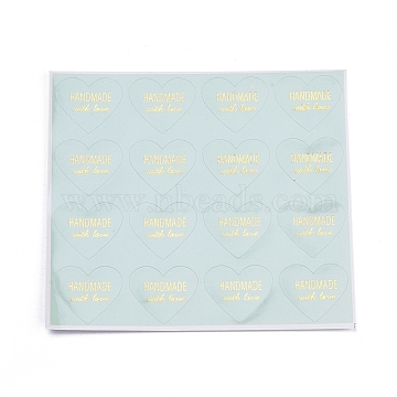 Valentine's Day Sealing Stickers, Label Paster Picture Stickers, for Gift Packaging, Heart with Word Handmade with Love, Medium Aquamarine, 28x32mm(DIY-I018-19E)