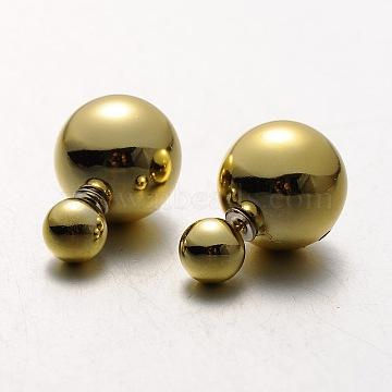 Boucles d'oreilles perles balle de goujons en plastique électrolytique, lightkhaki, 8~15.5mm, pin: 0.8 mm(EJEW-N0004-06)