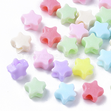 Opaque Polystyrene Plastic Beads, Star, Mixed Color, 10x10.5x5mm, Hole: 3.5mm; about 300pcs/50g(X-KY-I004-11A)