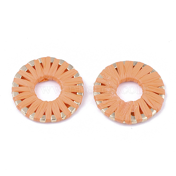 21mm DarkOrange Donut Raffia Linking Rings