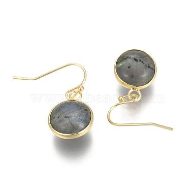 Flat Round Golden Tone Brass Natural Labradorite Dangle Earrings(EJEW-M059-08)-2