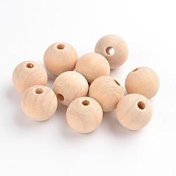 Деревянные бусины, без свинца, круглые, мокасин, 16 мм, отверстие : 3 мм(X-WOOD-S651-16mm-LF)