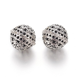 Alloy Rhinestone Beads, Round, Crystal, Antique Silver, 26x25mm, Hole: 3mm(RB-E519-01AS)