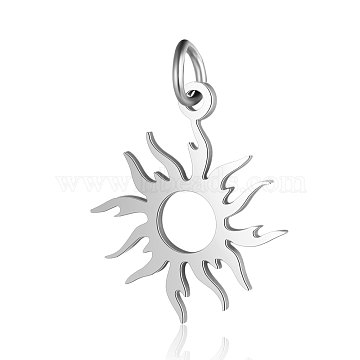 201 Stainless Steel Solar Eclipse Pendants, Sun, Stainless Steel Color, 17x16x1mm, Hole: 3mm(STAS-S105-T547D-1)
