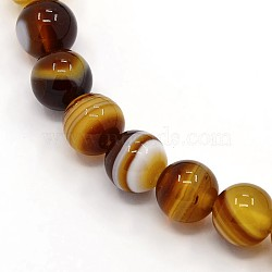 Round Dyed Natural Striped Agate/Banded Agate Beads Strands, Peru, 6mm, Hole: 1mm; about 62pcs/strand, 14.8