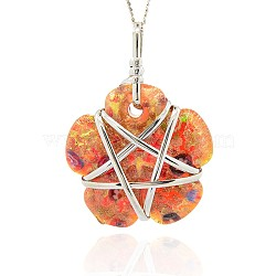 Handmade Foil Glass Big Pendants, Gold Sand and Millefiori, with Platinum Tone Brass Findings, Flower Necklace Big Pendants, OrangeRed, 64x46x16mm, Hole: 4x5mm(PALLOY-J356-06)