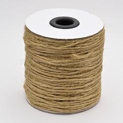 Ficelle de corde de chanvre, 6 plis, pour la fabrication de bijoux, Pérou, 2 mm; environ 50 mètres / rouleau(OCOR-E005-03A)