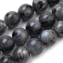 Natural Labradorite Beads Strands, Round, 6mm, Hole: 1mm; about 61pcs/strand, 15 inches