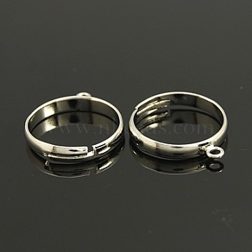 Brass Loop Ring Bases, Adjustable, Lead Free, Cadmium Free and Nickel Free, Platinum Color, Size: about 19mm in diameter, 17mm inner diameter, 1mm thick, Loop: about 2mm(EC159)