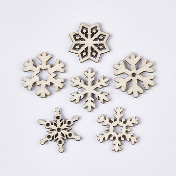 Christmas Theme Laser Cut Wood Shapes, Unfinished Wooden Embellishments, Wooden Cabochons, Snowflake, PapayaWhip, 23.5x20.5~23x2.5mm(X-WOOD-T011-64)