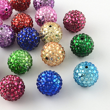 20mm Mixed Color Round Resin+Rhinestone Beads