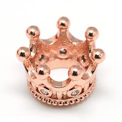 Perles de placage en laiton avec zircone cubique de micro pave, couronne, Perles avec un grand trou   , Plaqué longue durée, or rose, 11x7mm, Trou: 6mm(X-ZIRC-S052-003RG)