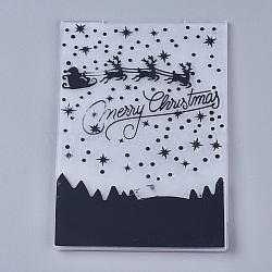 Tampon en plastique transparent transparent, pour scrapbooking bricolage / album photo décoratif, feuilles de timbres, Joyeux Noël, noir, 14.6x10.5x0.3 cm(DIY-WH0110-04F)