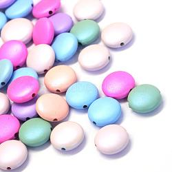 Perles en acrylique opaque de style caoutchouté, plat rond, couleur mixte, 16x5.5mm, Trou: 2mm(X-MACR-S805-16mm-M)