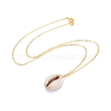 Electroplate Cowrie Shell Pendant Necklaces, with Brass Cable Chains, Seashell Color, 17.04 inches(43.3cm), Pendant: 18~24x10~14x6~7mm(X-NJEW-JN02370)