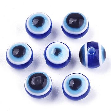 Evil Eye Resin Beads, Round, Royal Blue, 8x7mm, Hole: 1.5mm(RESI-R140-8mm-01)