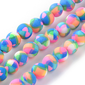 Handmade Polymer Clay Bead Strands, Round, DeepSkyBlue, 8~9x7~8mm, Hole: 1.5mm; about 44pcs/strand, 14.57inches(X-CLAY-Q230-25)