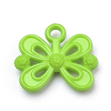 Opaque Acrylic Pendants, Bowknot, Lime Green, 20x23x5mm, Hole: 3mm(X-SACR-Q190-45E)