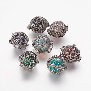 Brass Cage Pendants, with Natural & Synthetic Gemstone Beads, Owl, 29.5x27mm, Hole: 5x6mm; 18mm Inner Diameter(G-P235)