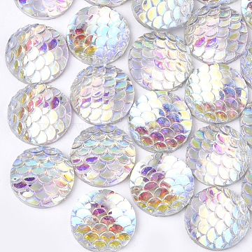 10mm Clear AB Scale Resin Cabochon