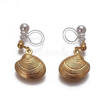 Stainless Steel Clip-on Earrings, with Acrylic Pearls, Environmental Resin, Shell, Golden, 20mm(EJEW-F196-04G-B)