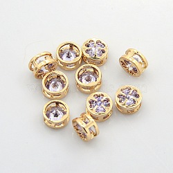 Real 18K Gold Plated Brass Rhinestone Beads, Flat Round with Clover Pattern, Nickel Free, Violet, 8x4mm, Hole: 2x6mm(KK-J199-26G)