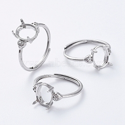 Adjustable Brass Finger Ring Components, Claw Pad Ring Settings, with Clear Cubic Zirconia, Platinum, Size 7, 17mm; Tray: 9.5x8mm(KK-L193-03P)