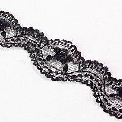 """Fil de nylon de garniture de dentelle pour la fabrication de bijoux, noir, 1-3/8"""" (34 mm); 200yards / roll (182.88m / roll)(OCOR-I001-217)"""