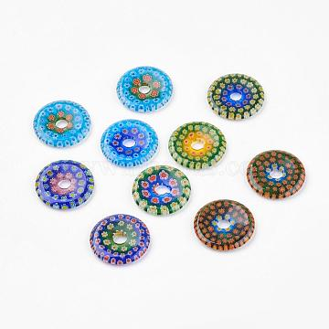 Handmade Millefiori Glass Pendants, Flat Round, Mixed Color, 30x3mm, Hole: 6mm; Pitch-Row: 12mm(LAMP-G131-01)