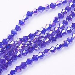 toupies facettes brins de billes de verre, ab couleur plaquée, bleu, 4x4 mm, trou: 1 mm; environ 104 perle / brin(X-EGLA-S056-05)