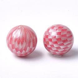 Perles acryliques imprimées, rond avec motif tartan, rouge, 17.5x17mm, Trou: 2.5mm(MACR-T024-54A)