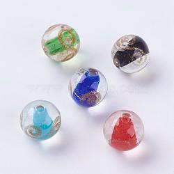 Perles vernissées de sable d'or manuelles , rond, couleur mixte, 11.5~12mm, Trou: 1.5mm(LAMP-J089-K)