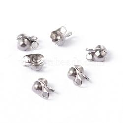 304 acier inoxydable caches noeuds de surface lisse, calotte se termine, couverture de noeud à clapet, couleur inoxydable, 4x2mm, Trou: 1mm(X-STAS-D150-01P)