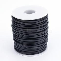corde en caoutchouc synthétique solide tubulaire de PVC, enroulé autour de plastique blanc bobine, aucun trou, noir, 4 mm; sur 15 m / rouleau(RCOR-R008-4mm-09)