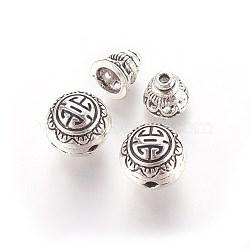 Ensembles de perles de gourou en alliage de style tibétain, perles t-percées, 3 rond -hole et perles de tête de Bouddha, argent antique, 10mm, trou: 2 mm; perle calebasse: 7.5x7.5 mm, Trou: 1.5mm(PALLOY-N0063-05AS)