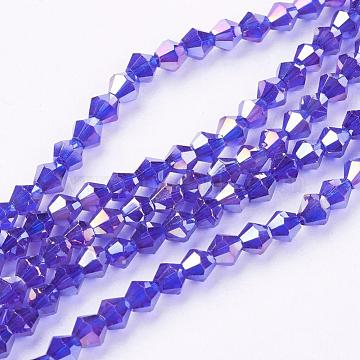 4mm Blue Bicone Electroplate Glass Beads